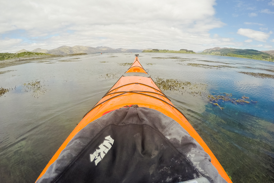 Sea kayaking in Scotland: West coast near Oban.