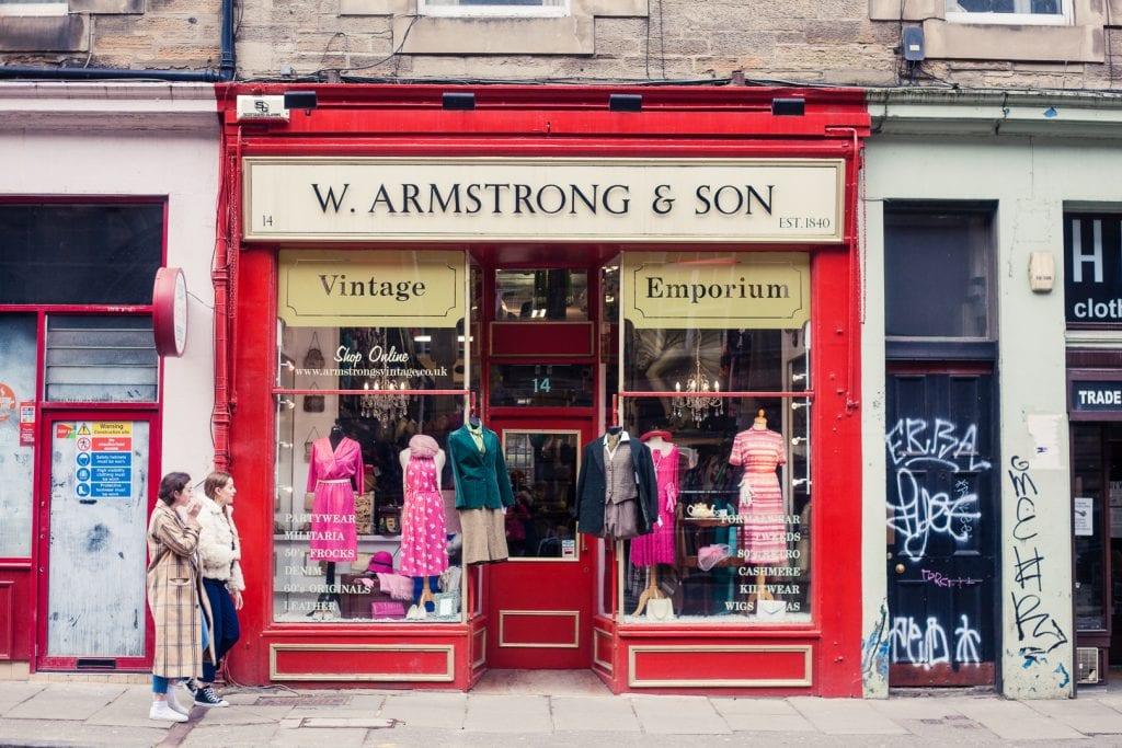 Shop front of one of the Armstrong's Vintage shops in Edinburgh.