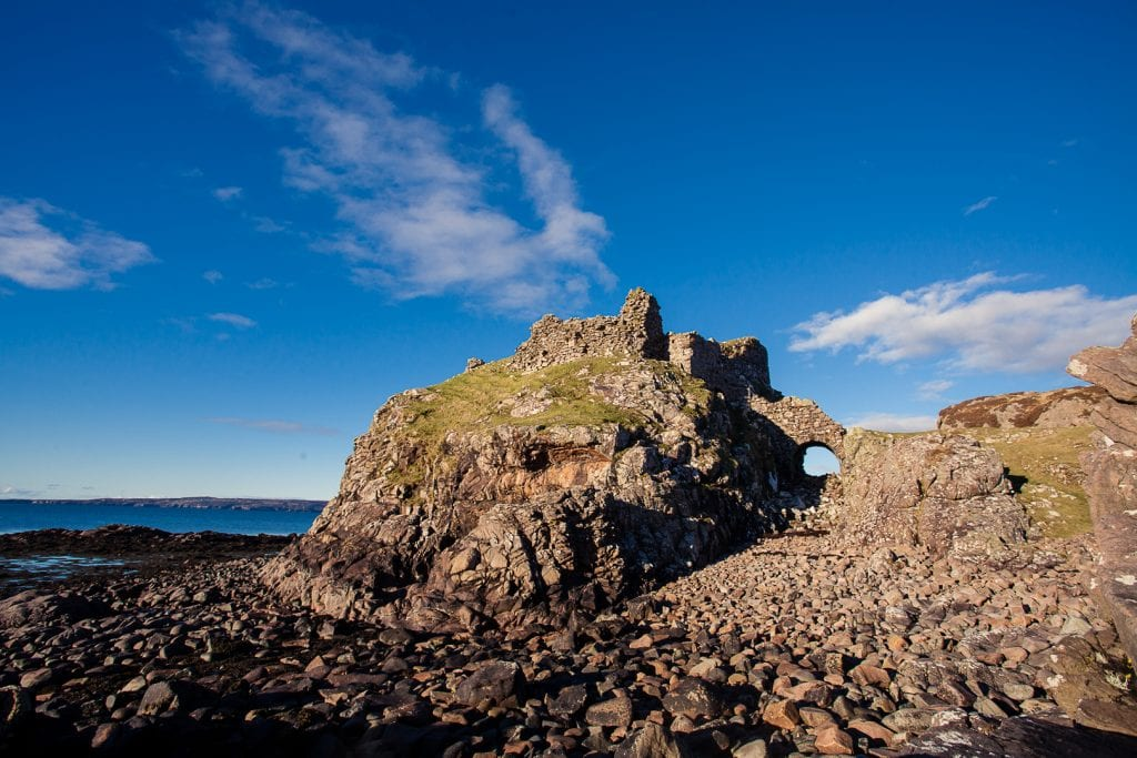 Dunscaith Castle ruins on the Isle of Skye