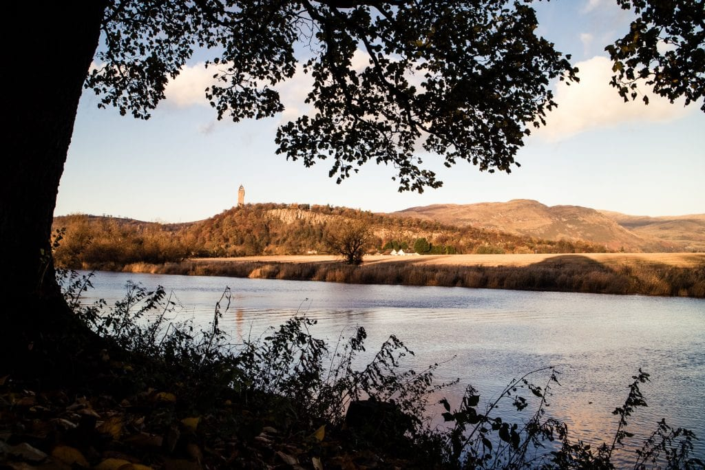 Wallace Monument during golden hour in Stirling in autumn.