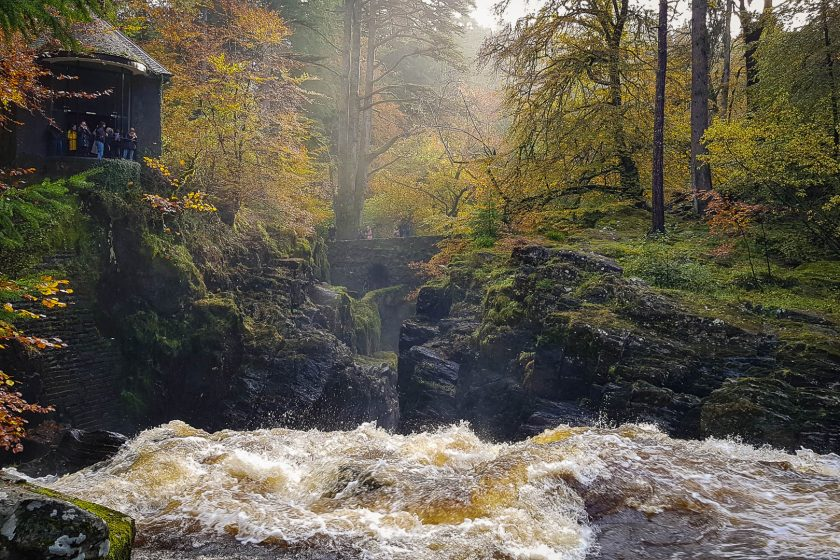 Ossian's Hall and Bracklinn Falls at The Hermitage in Scotland