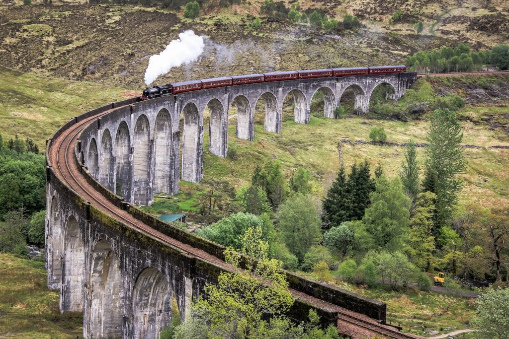 The Jacobite Steam Train crossing the Glenfinnan Viaduct