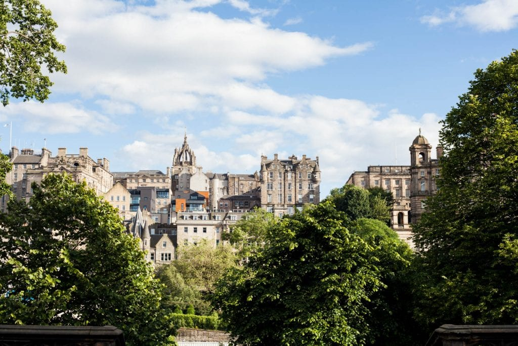 View of the Old Town of Edinburgh from Princes Street Gardens.