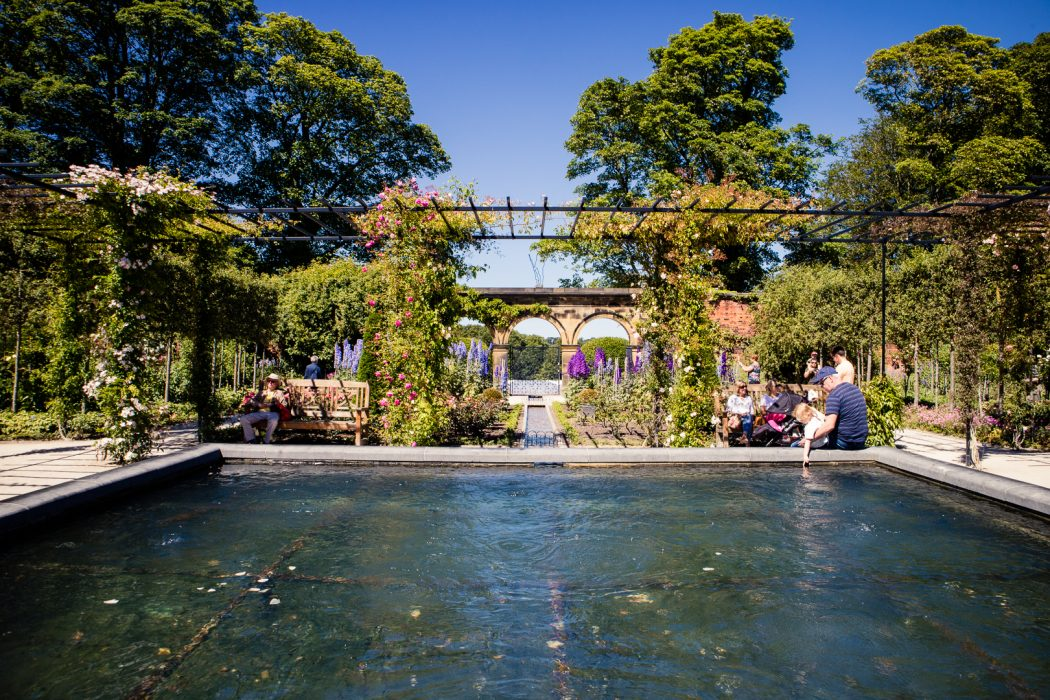 A decorative flower garden at Alnwick Garden in Northumberland.