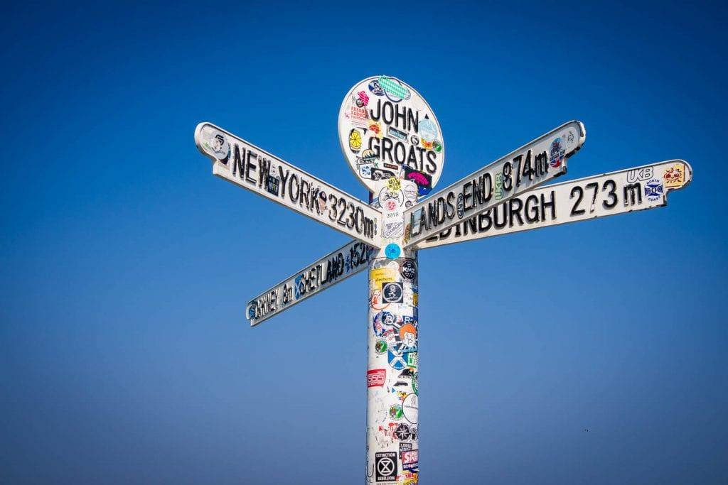 North Coast 500: Sign post at John O Groats