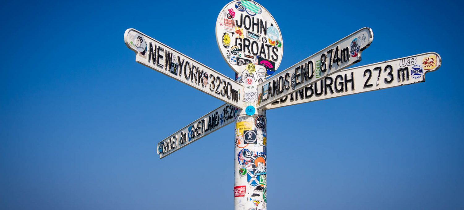 North Coast 500: Sign post at John O Groats