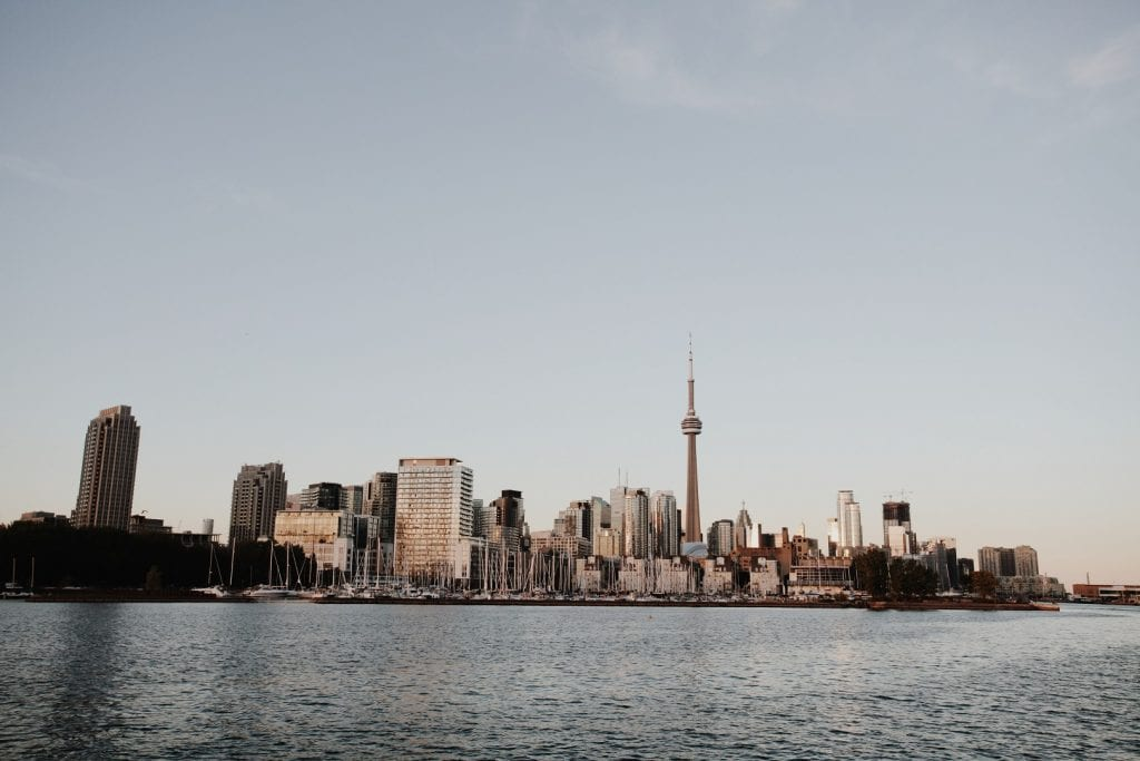 Toronto city skyline during sunset - Sunset cruise with the tall ship Kajama in Toronto