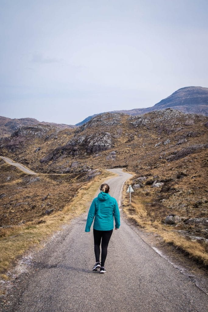 North Coast 500, A woman walking on the road