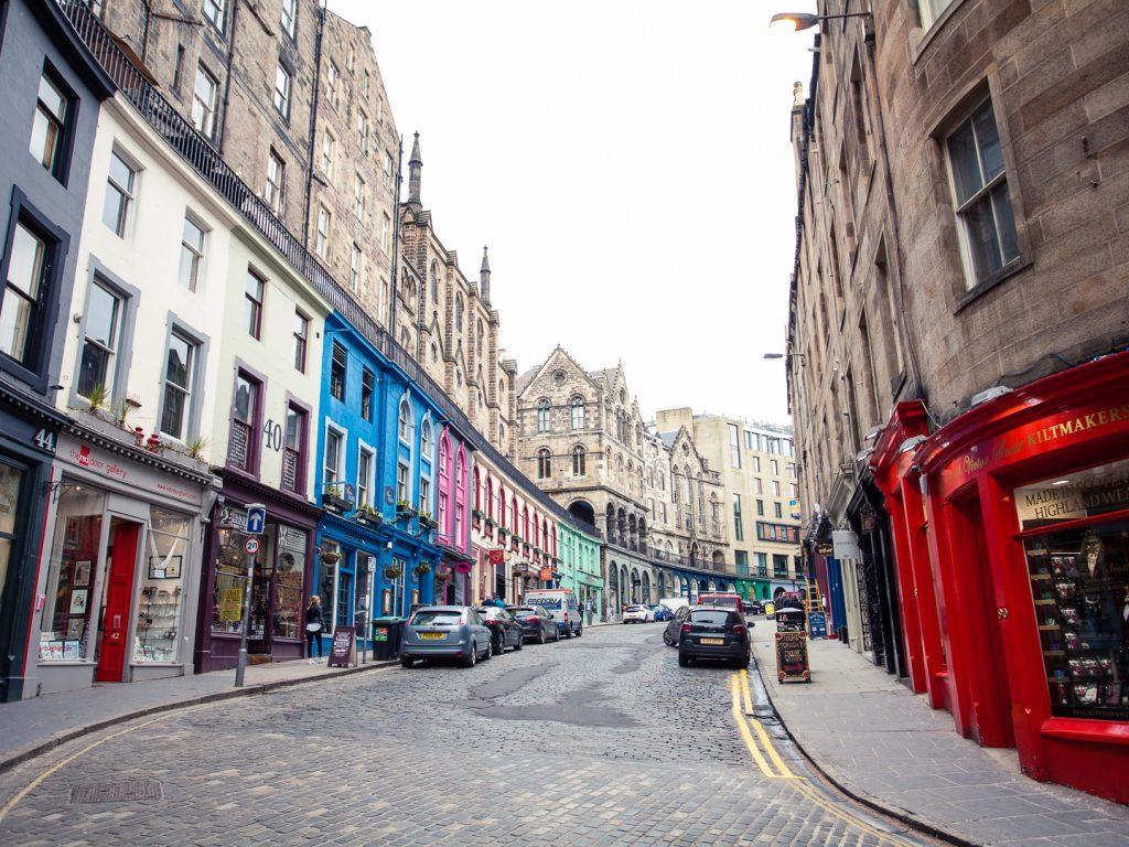 View up Victoria Street in Edinburgh's Old Town