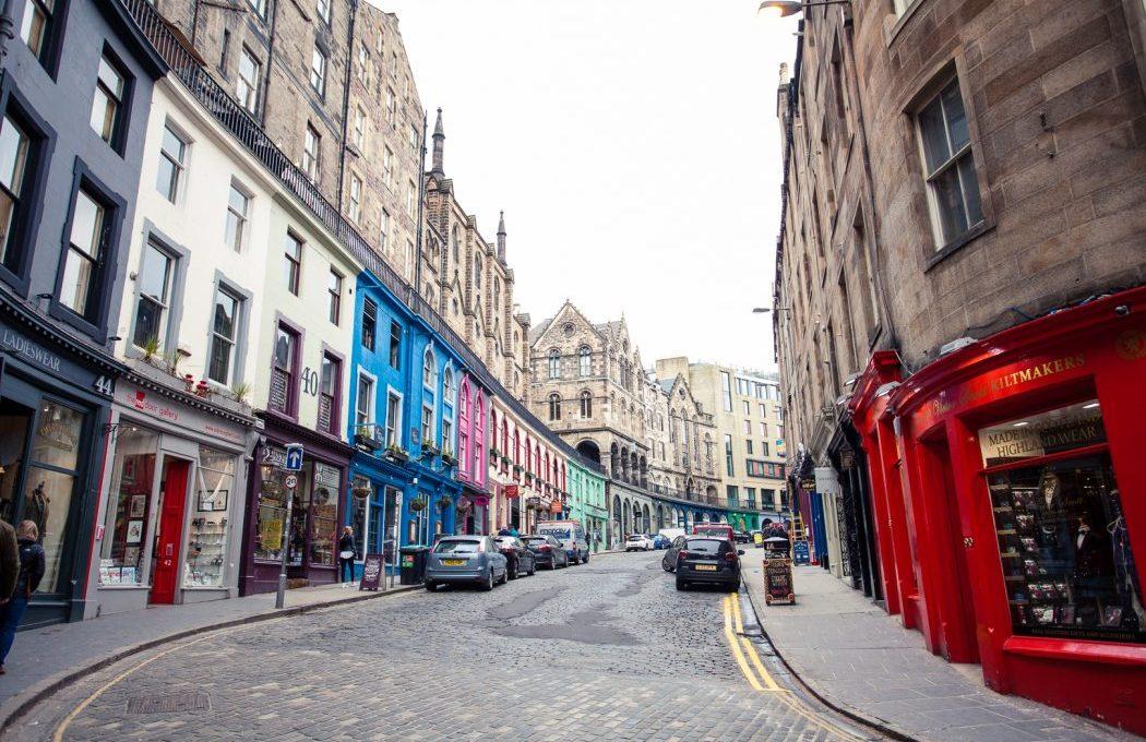 View up Victoria Street in Edinburgh's Old Town