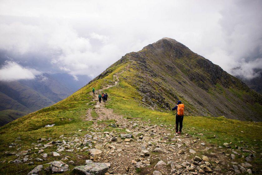 Women hiking in Scottish mountains