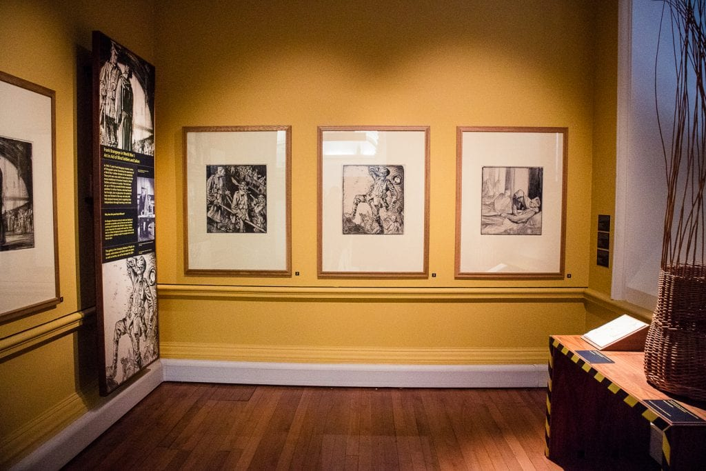 "Frank Brangwyn's lithographs entitled ""Art in Aid of Blind Soldiers and Sailors"" at Kelvingrove Museum in Glasgow."