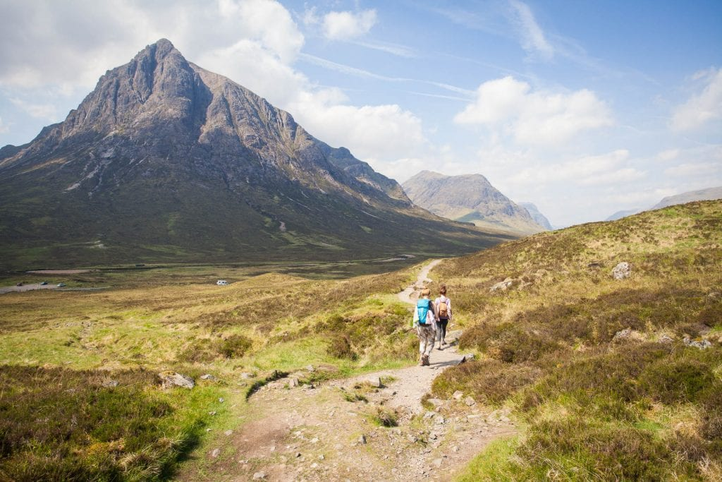 Hiking along the West Highland Way.