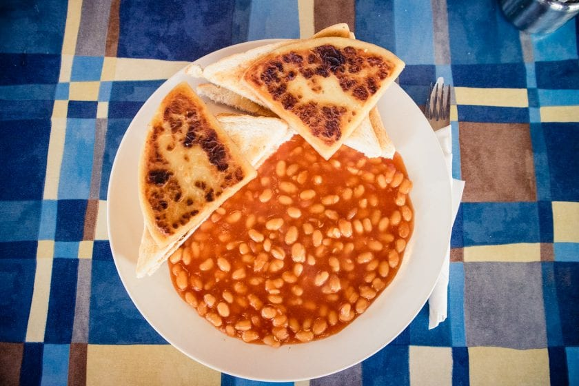 Baked beans on toast at the Ettrick Bay tearoom on the Isle of Bute.