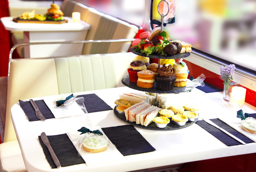 Afternoon tea at the Red Bus Bistro tour in Edinburgh