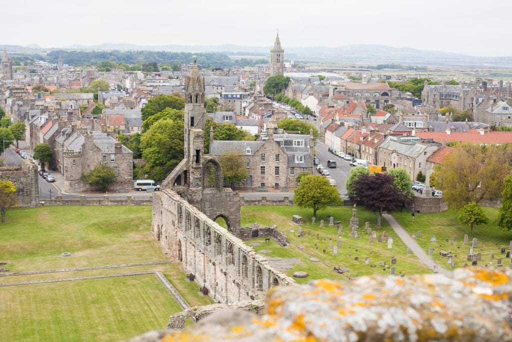 St Andrews is one of Scotland's most beautiful towns and from the top of the tower near St Andrews Cathedral, the views are the best!