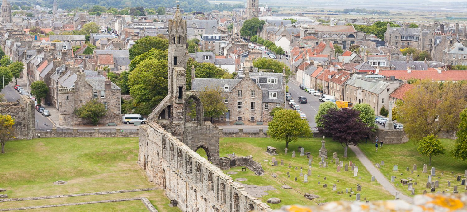 The view from the tower near St Andrews Cathedral in Scotland.